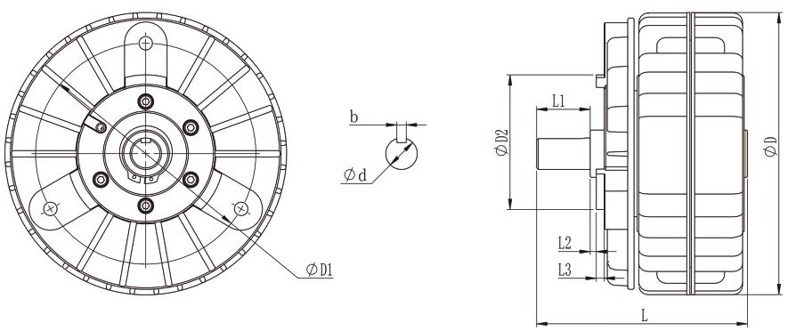 ZA-S磁粉制动器安装示例图