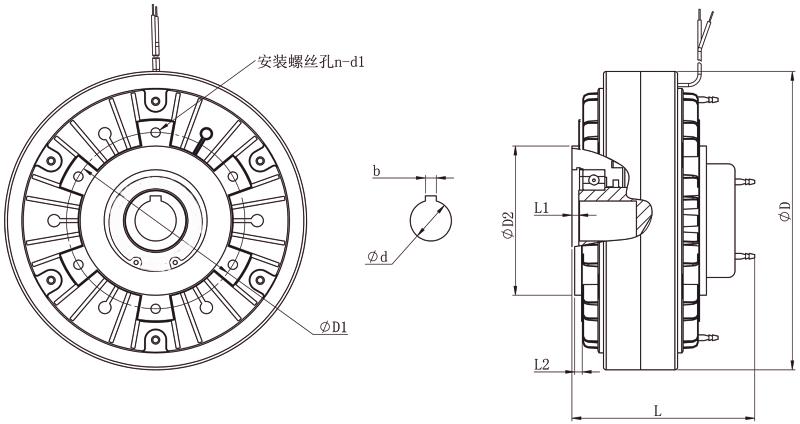 FZKY磁粉制动器外形尺寸图
