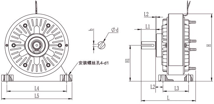 FZ磁粉制动器外形尺寸图